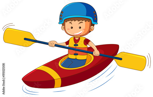 Aluminium Kids Boy wearing lifejacket and helmet in canoe