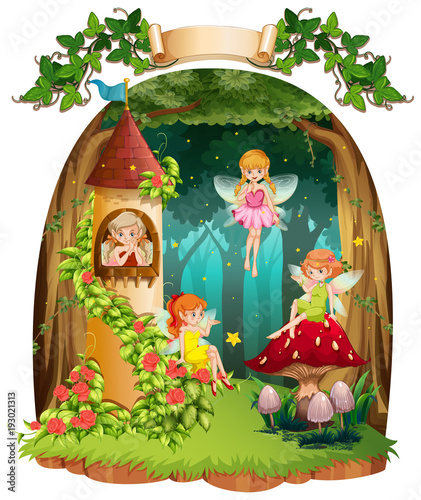 Deurstickers Kids Four fairies flying in the forest