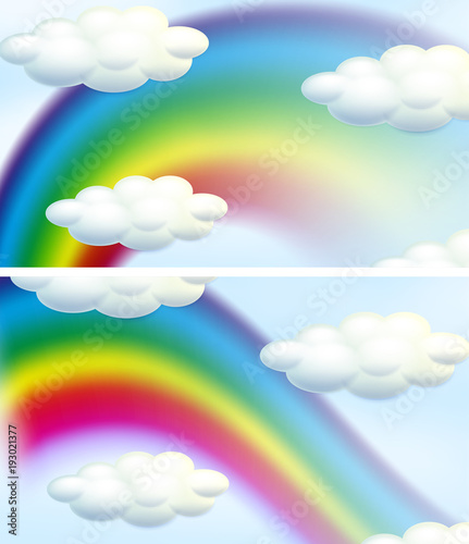 Deurstickers Kids Two sky background with rainbows