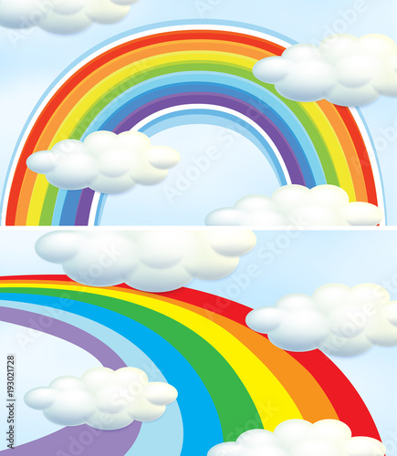 Deurstickers Kids Rainbow in blue sky