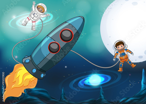 Fotobehang Nachtblauw Spaceship and astronauts flying in space