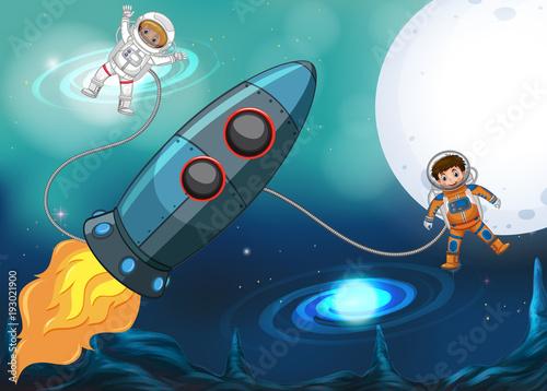Aluminium Nachtblauw Spaceship and astronauts flying in space