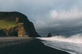 Incredible view of the Black beach and troll toes. Reynisdrangar, Vik, Iceland - 193022517