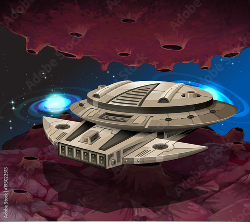 Papiers peints Jeunes enfants Round spaceship flying in the galaxy