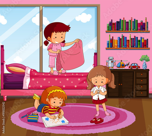 Papiers peints Jeunes enfants Three girls doing different things in bedroom