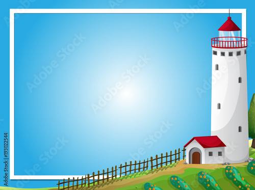 Papiers peints Jeunes enfants Frame template with lighthouse and farm
