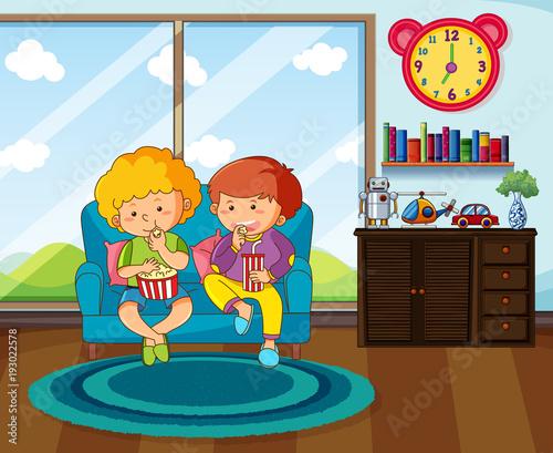 Papiers peints Jeunes enfants Two boys eating snack in livingroom