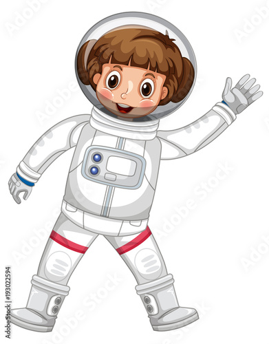 Papiers peints Jeunes enfants Girl in astronaut outfit waving hand