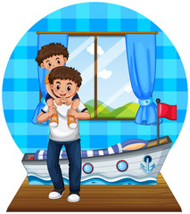 Father and son in bedroom
