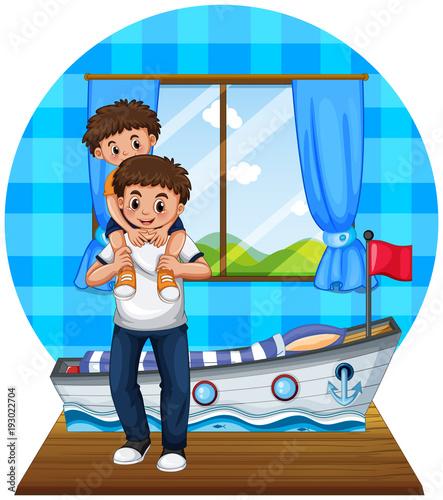 Papiers peints Jeunes enfants Father and son in bedroom