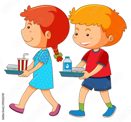 Papiers peints Jeunes enfants Boy and girl holding tray of food