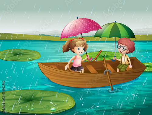Aluminium Kids Scene with boy and girl rowing boat in the rain