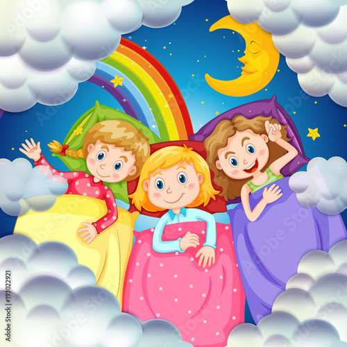 Deurstickers Kids Three girls in bed at night