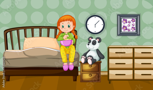 Papiers peints Jeunes enfants Little girl and panda doll in bedroom