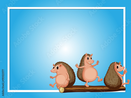 Deurstickers Kids Frame template with three hedgehogs