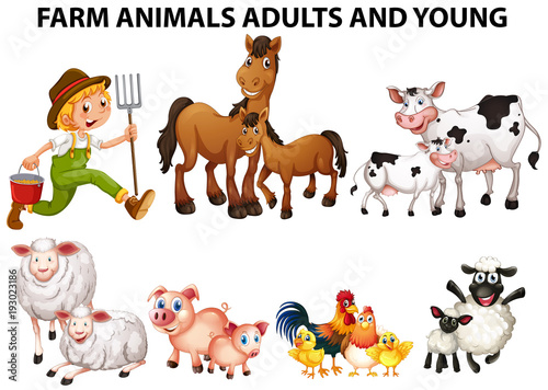 Papiers peints Jeunes enfants Different types of farm animals with adults and youngs