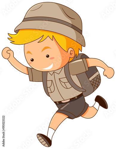 Papiers peints Jeunes enfants Boy in safari costume running