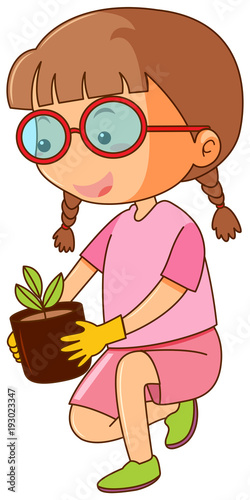 Papiers peints Jeunes enfants Little girl holding plant pot