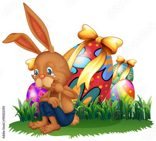 Papiers peints Jeunes enfants Brown bunny crying in garden