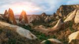 Amazing sunrise in Cappadocia mountains, Turkey. Travel landscape photography - 193023767