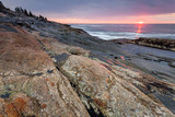 Sunrise at coastline nearby Pemaquid Point lighthouse, Maine, USA - 193024380