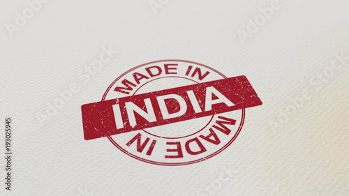 MADE IN INDIA stamp red print on the paper. 3D rendering