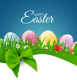 Happy Easter Natural Background with Eggs, grass, flower. Vector Illustration  - 193032703