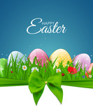 Happy Easter Natural Background with Eggs, grass, flower. Vector Illustration  - 193032772