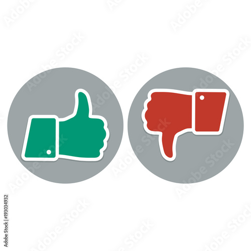 Like And Dislike Symbol Thumb Up And Down Red And Green Icons Buy