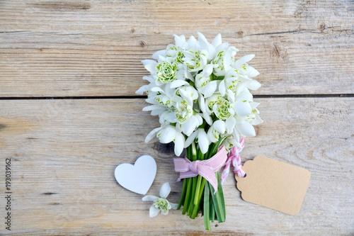 Fototapeta Grußkarte - Schneeglöckchen Blumenstrauß