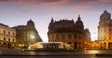 Evening view of Piazza de Ferrari, Genoa
