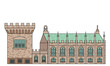 Dublin Castle - Irish government complex with Record Tower and Chapel Royal. Popular attractions and showplaces of Ireland in flat color line design. Detailed illustration of stronghold and church. - 193042925