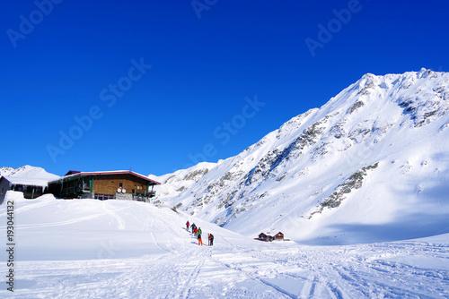 Foto op Canvas Donkerblauw Snow covered mountains at Balea Lake Resort, Transylvanian Alps, Romania, Europe