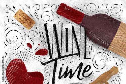 Fototapeta Poster wine time white