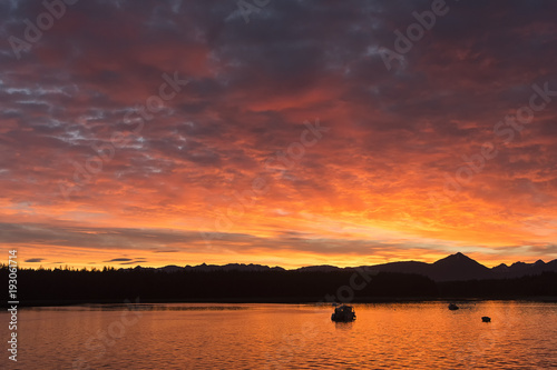 Plexiglas Oranje eclat Bartlett Cove sunrise; Glacier Bay National Park; Alaska