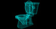 A Wire-Frame of a toilet, 3D rendered with my own design Front View (Right).