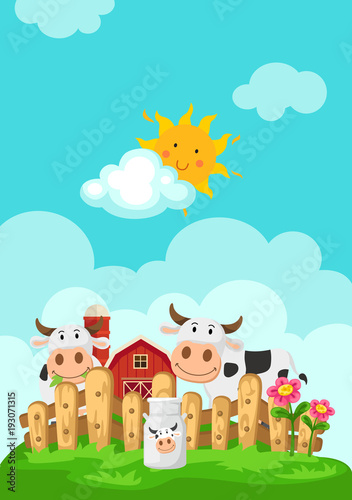 Staande foto Lichtblauw Illustration of landscape with cows and farm background