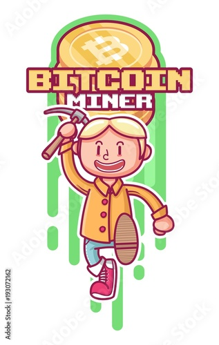 cute character holding pickaxe. bitcoin miner with character.