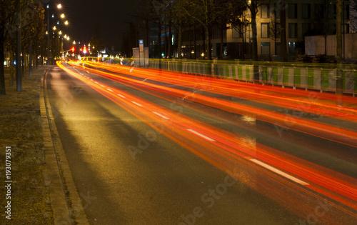 Deurstickers Nacht snelweg Night city traffic light trail