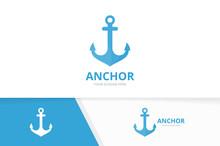 Anchor Logo Combination Marine And Nautical Symbol Or Icon Unique Navy Logotype Design Template Sticker