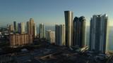 Stock aerial establishing shot Sunny Isles Beach Florida 4k