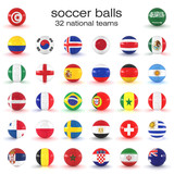 32 Fußbälle Mit Nationalflaggen Auf Weißem Hintergrund  Nationalmannschaften Wall Sticker