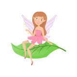 Cute Forest Fairy Sitting On Green Leaf Adorable Girl  Cute Elf Ears And Little Wings Dressed In Fancy Pink Dress Fairytale Creature Colorful Flat  Design Wall Sticker