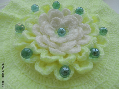 knitted flower of thread - 193088753