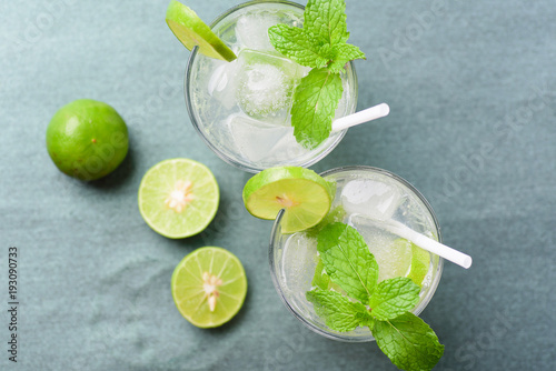 Fototapeta Glass of iced lemonade soda, cold drink in summer