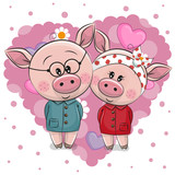 Two Cute Pigs on a background of heart