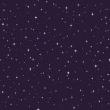 Hand drawn vector seamless pattern with pink stars on the purple background. Starry cosmic backdrop.