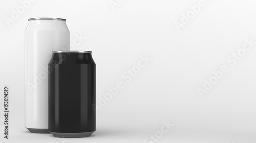 Fototapeta Big white and small black soda cans mockup