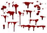 collection various blood or paint splatters,Halloween concept - 193095584