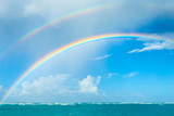 Fototapeta Tęcza - Double rainbow over the ocean © zoommachine